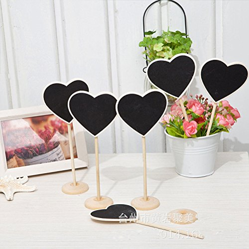 B&Y Chalkboard Erasable Wood Chalkboard One Sides Wood Hearts Table Place Card Signs