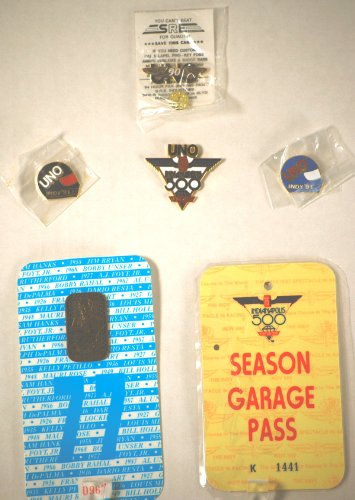 1991 - Indianpolis Motor Speedway - 75th Indy 500 Race - Season Garage Pass-K 1441 / Hot Pit Pass #77-967 / Anton Hulman 500 Pin #R312 / Uno Indy 500 Pin / 2 - UNO Indy '91 Helmet Pins / UNO 90 Racing Wings Pin - Pins New - Out of Production - Mint - Collectible