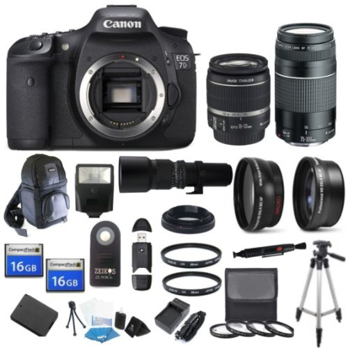 Canon EOS 7D 18 MP CMOS Digital SLR Body with EF-S 18-55mm IS II Lens & EF 75-300mm III Lens with 32GB Deluxe Lens Bundle