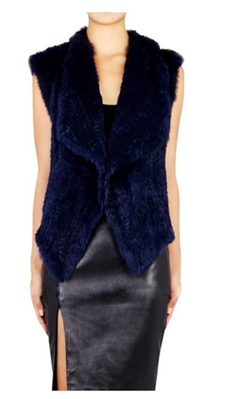 YR Lover Damen Winter Warm Echt Kanichen Pelz Weste Mantel günstig online kaufen