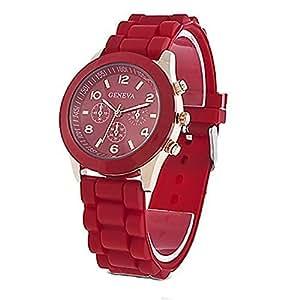 Unisex Geneva Silicone Jelly Gel Quartz Analog Sports Wrist Watch (Red)