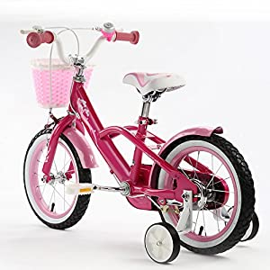 """BABY MERMAID STYLE PRINCESS PINK GIRL'S BIKES IN SIZE 12"""" 14"""" 16"""" & 18""""+ Adjustable removable stabilisers+ front pink basket."""