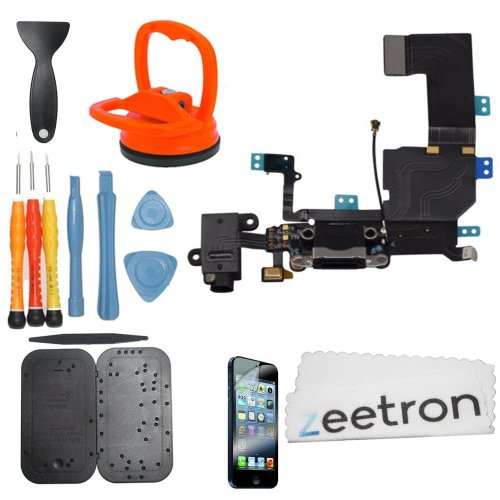 Zeetron Iphone 5C Premium Charger Flex Headphone Jack Bottom Dock Repair & Replacement Do It Yourself Kit + Tools + Screwmat + Screen Protector + Cloth (For Models: A1532 A1507 A1532 A1456 A1529 A1526)