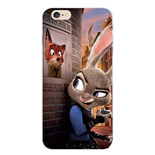 """iPhone 6 Plus (5.5"""") Zootopia Cassa del Silicone / Copertura Gel del Fumetto per Apple iPhone 6+6s PLUS / Protettore e Il Panno dello Schermo / iCHOOSE / Manifesto da Ricercato"""