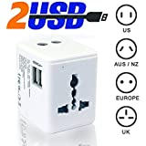 Cable Hunter™ Fast Charging World Travel Adapter With 2 Dual USB Port, Wall Charger, AC Power Adapter With 2.1A...