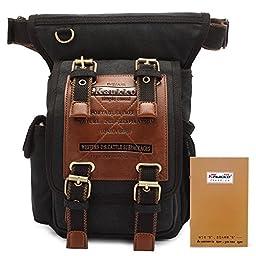 KAUKKO Travel Hiking Camping Dayback Mens Canvas Rucksack Retro Cute Laptop Backpack Vintage Genuine Leather Laptop Briefcase messenger satchel bag Black