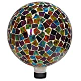 Alpine Mosaic Gazing Ball, 10-Inch, Red/Blue/Yellow