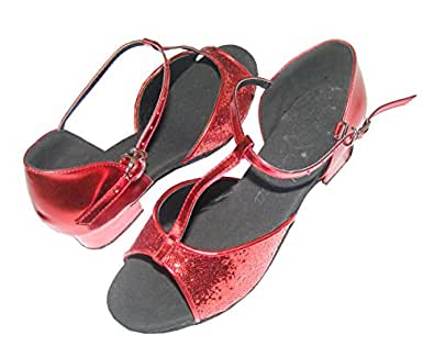 T fonts Red/silver/purple/gold sequins of Child Girls Latin Dance Shoes-(EU28~EU35) (EU33/20.5CM, Red sequins)