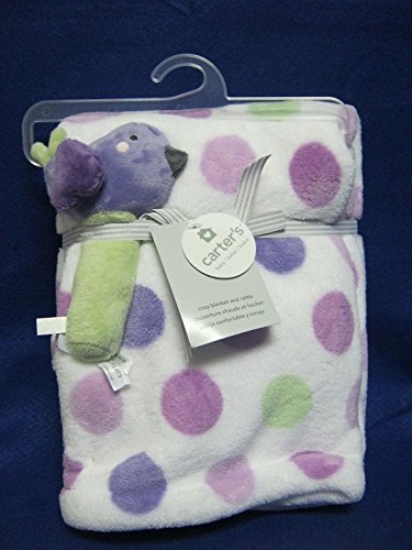 Carter's Boa Blanket with Rattle, Lilac Bird - 1