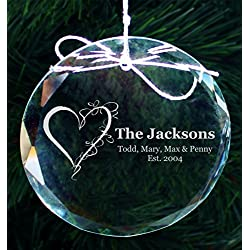 Engraved Family Hearts Crystal Ornament, Personalized Family Ornaments, Engagement Gift for Couple , COR37