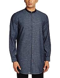 Adamo London Men's Casual Shirt (SHTADSU16032_Large_Black)