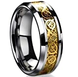 Dragon Scale Dragon Pattern Beveled Edges Celtic Rings Jewelry Wedding Band For Men Golden 9