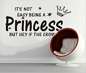 Tarmader It's Not Easy Being A Princess Quote Girl Wall Room Sticker Vinyl decor