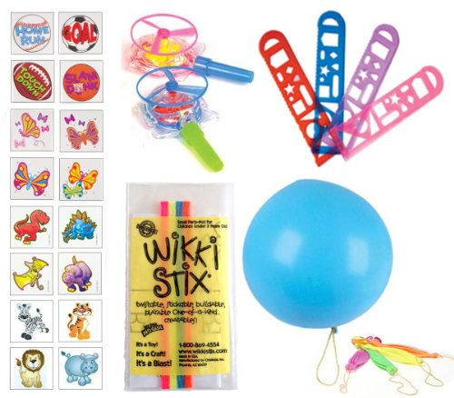 Kid's Choice Party Favor Pack - 84 Pc (12 Pkgs of Wikki Stix, 12 Punch Balloons, 12 Whistle Blow Saucers, 36 Kid's Tattoos, 12 Stencil Rulers)
