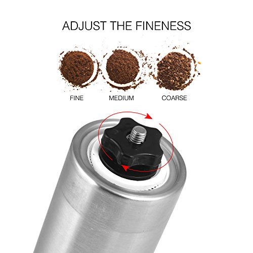 Luxebell Manual Coffee Grinders Made of Stainless Steel Rotating Handle Adjusting Wheel