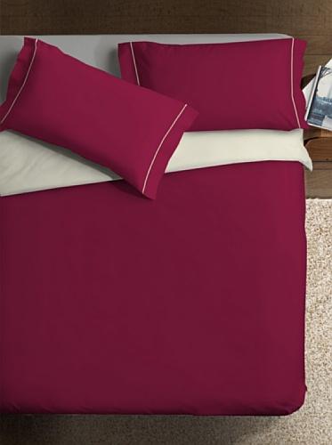 Ipersan Double ColorParure Copripiumino, 2 Piazze, Cotone, Bordeaux/Panna, Matrimoniale