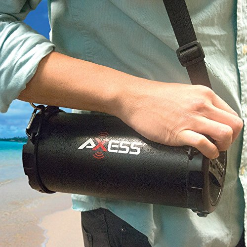Axess SPBT1031-BL Portable Bluetooth Indoor/Outdoor 2.1 Hi-Fi Cylinder Loud Speaker with SD Card, USB, AUX and FM Inputs, 3