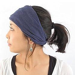 Casualbox Womens Made in Japan HeadBand Hair band Organic Cotton Skin Navy