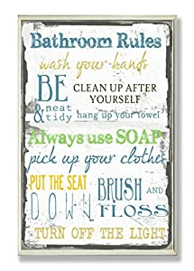 """The Stupell Home Décor Collection """"Bathroom Rules"""" Typographic Wall Plaque by The Stupell Home Décor Collection"""