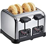 Hamilton Beach Classic Chrome 4-Slice Toaster, Chrome, Bagel, cancel, defrost and reheat buttons