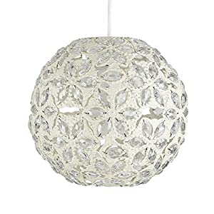Contemporary Moroccan Style Shabby Chic Metal Jewelled Ball Ceiling Pendant Light Shade by MiniSun