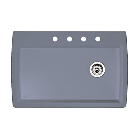 Blanco 440193-4 Diamond 4-Hole Single-Basin Drop-In or Undermount Granite Kitchen Sink, Metallic Grey