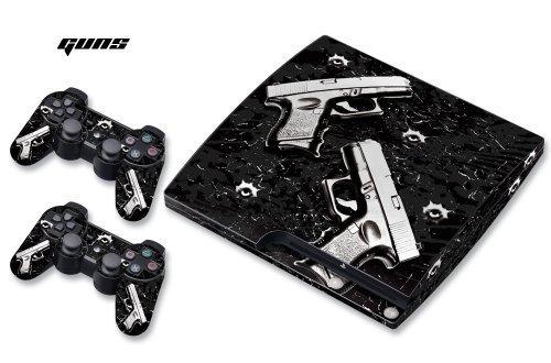 DesignSkin/Designer-Folie für Sony PlayStation PS3 SLIM System & Controller -Guns - schwarz