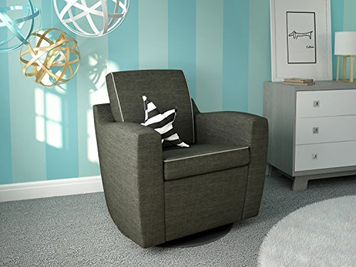 Ultramotion by Dutailier Mocha Glider, Dolphin Grey with Light Grey Welting