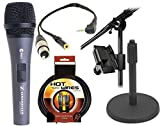 Sennheiser E835S - Cardioid Handheld Dynamic Vocal Microphone with Switch With XLR Jack to iPhone iPad2 iPod Touch and Other Compatible Device for Professional Recording with a 3.5mm Mini Jack for Headphones & IKLIP Mini - Universal microphone stand adapter & On Stage DS7200B Adjustable Desk Microphone Stand