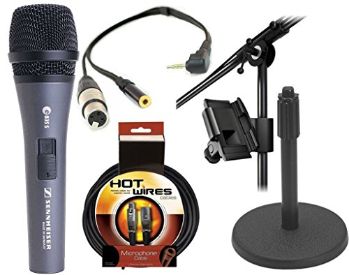 Sennheiser E835S - Cardioid Handheld Dynamic Vocal Microphone With Switch With Xlr Jack To Iphone, Ipad2, Ipod Touch And Other Compatible Device For Professional Recording, With A 3.5Mm Mini Jack For Headphones & Iklip Mini - Universal Microphone Stand Ad