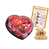 Skylofts Chocolate Valentine's Heart Box With A Cute Teddy & An Anniversary Card