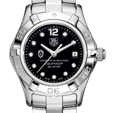 University Of Wisconsin Tag Heuer Watch - Women'S Aquaracer With Black Dial