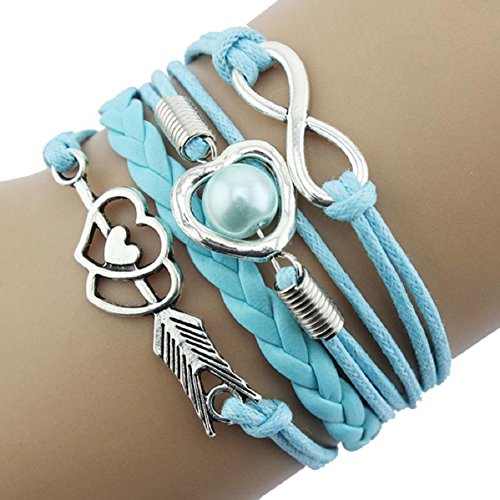Doinshop Infinity Love Heart Pearl Friendship Antique Leather Charm Bracelet (sky blue)