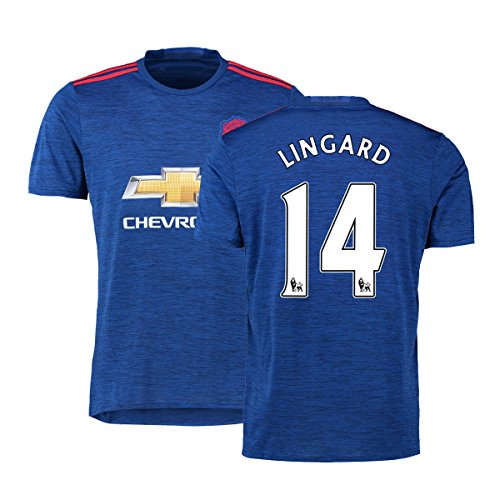 FC Football Jersey Manchester United Soccer Jersey Away Shirt 2016-17 Mens #14 Lingard Blue M (Cheap Manchester United Jersey compare prices)