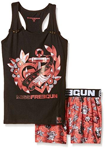 freegun-tatou-ensemble-de-pyjama-imprime-fille-noir-noir-corail-fr-14-ans-taille-fabricant-14-ans