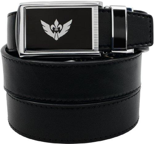 Slidebelts Men'S Big Winged Leather Belt - Custom Fit (Black Leather With Big Winged Buckle)