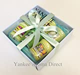 Yankee Candle - 6 Votive Sampler Branded Blue Gift Box (Incl. 1x A Child's Wish, 1x Margarita Time, 1x Vanilla Lime, 1x Pineapple Cilantro, 1x Wild Passion Fruit, 1x Under The Palms, Green Tissue and Green Ribbon.