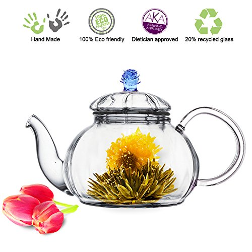 Blooming Tea Glass Teapot with Infuser Blue Juliet, 20oz/590ml Non-drip Lead Free Glass Reviews