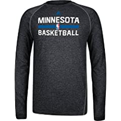 Minnesota Timberwolves Heather Black Climalite Practice Long Sleeve Shirt by Adidas by adidas