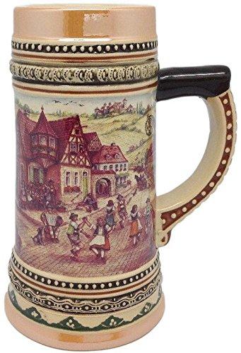 Ceramic Beer Stein With German Village Dancers 2liter Home
