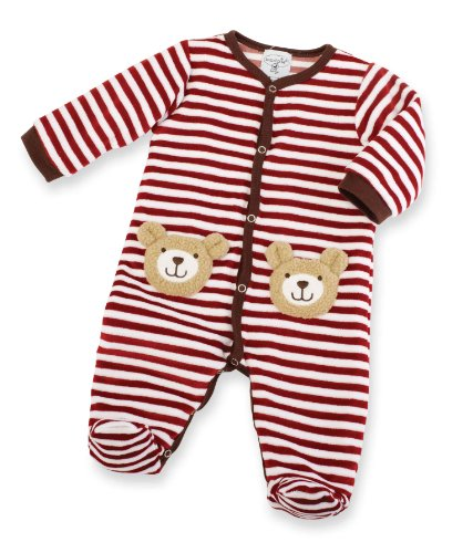 Mud Pie Unisex-Baby Newborn Velour Bear Sleeper, Multi Colored, 9-12 Months front-570757