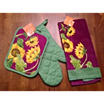 3 Piece Deep Purple Sunflower Kitchen Towel Set