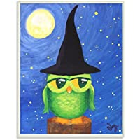 The Kids Room By Stupell Owl In A Wizards Hat Sitting On A Log Rectangle Wall Plaque
