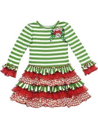 Rare Editions Little Girls' Stripe Dress, Green/White/Red, 6