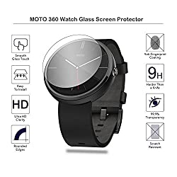 MOTONG New MOTO 360 WATCH Tempered Glass Screen Protectors For (MOTO 360), 9 H Hardness, 0.3mm Thickness,Made From Real Glass, Shatterproof(Fulfilled by Amazon)