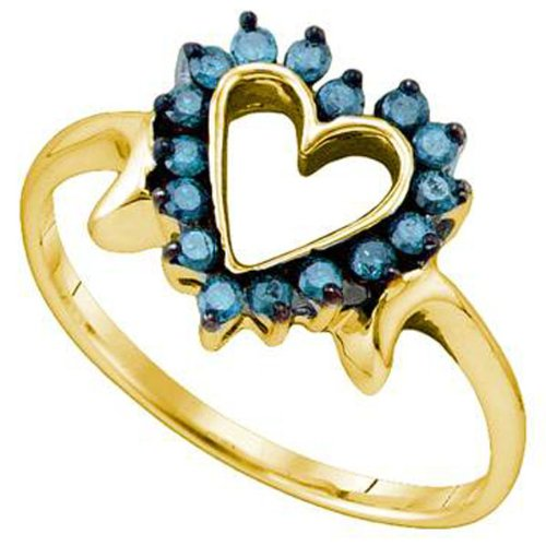0.25 Carat (ctw) 10k Yellow Gold Blue Diamond Ladies Heart Promise Ring