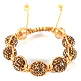 Gold Shamballah 12mm Macrame Bracelet with 7 Iced Out Disco Balls Picture