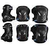 Govinz(TM) 6pcs/1 Set Protector Kids Adult Skating Scooter Elbow Knee Wrist Safety Pads Gear Set[ Black and Blue-L ]
