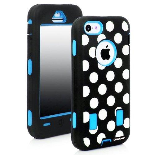 Oksobuy® Fashion Sky Blue Dot Pattern Design Hard Soft High Impact Hybrid Case Combo for Apple Iphone 5c (Iphone 5c Case,sky Blue, White, Black)-0419