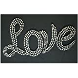LARGE SILVER DIAMANT� LOVE MOTIF GLASS AND METAL WALL ARTby CENTURION PINE 07779...